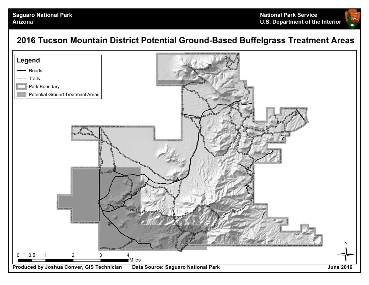 2016 Tucson Mountain District Potential Ground-Based Buffelgrass Treatment Areas