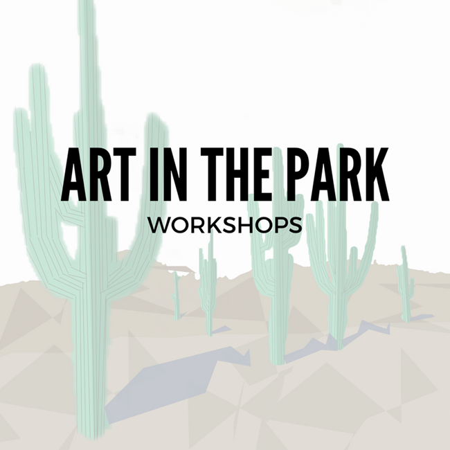 art in the park written over illustrated saguaros