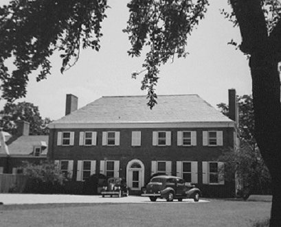 Front facade of the Old Orchard home, a georgian styled mansion.