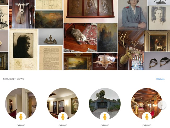 Home screen of the Sagamore Hill virtual tour on Google Arts & Culture with highlights of exhibits available.