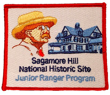 "A stitched rectangular patch with an image of Roosevelt and his home. Text below reads, ""Sagamore Hill National Historic Site Junior Ranger Program."""