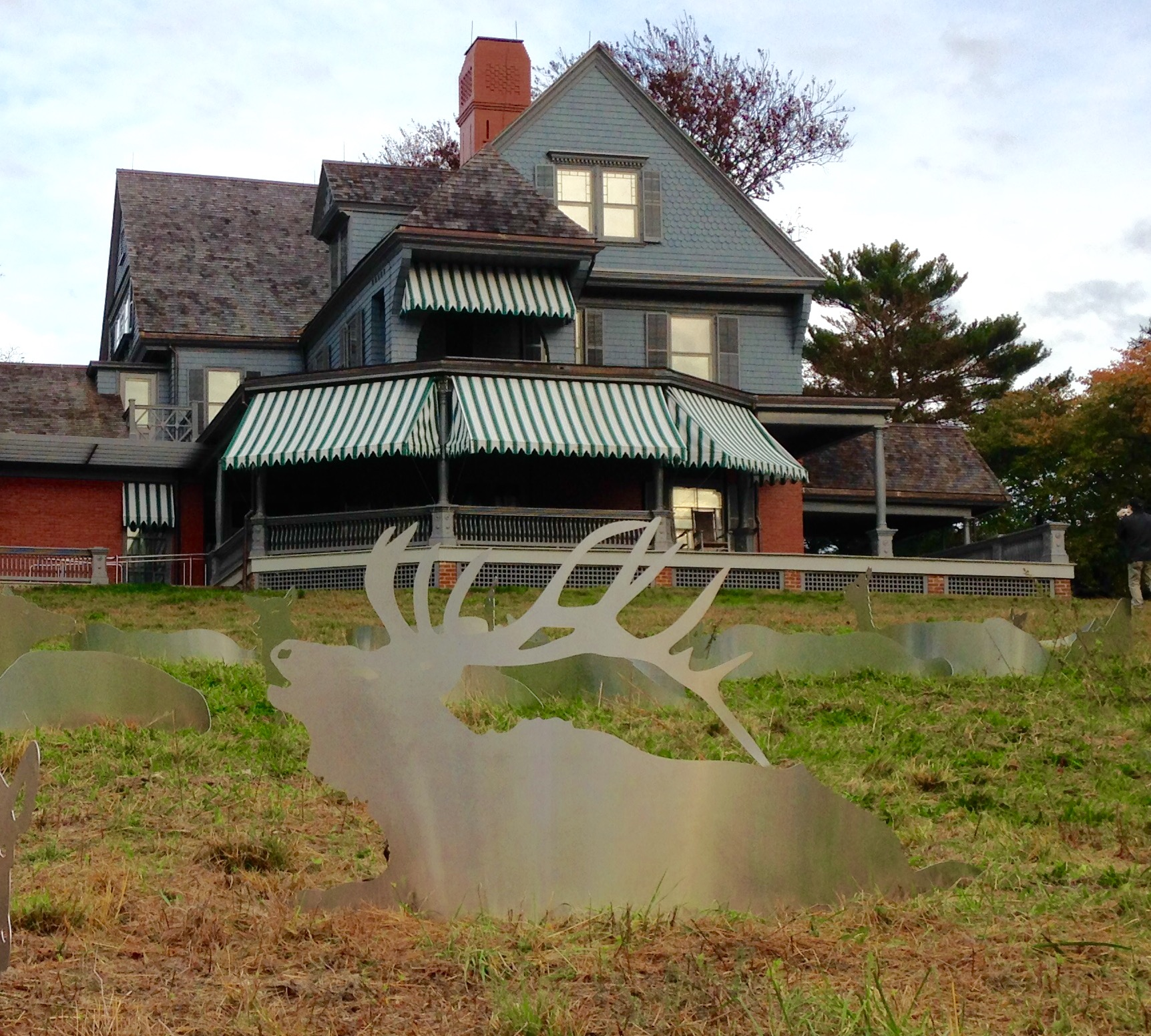 A reflective metal elk sits in front of the Theodore Roosevelt Home.