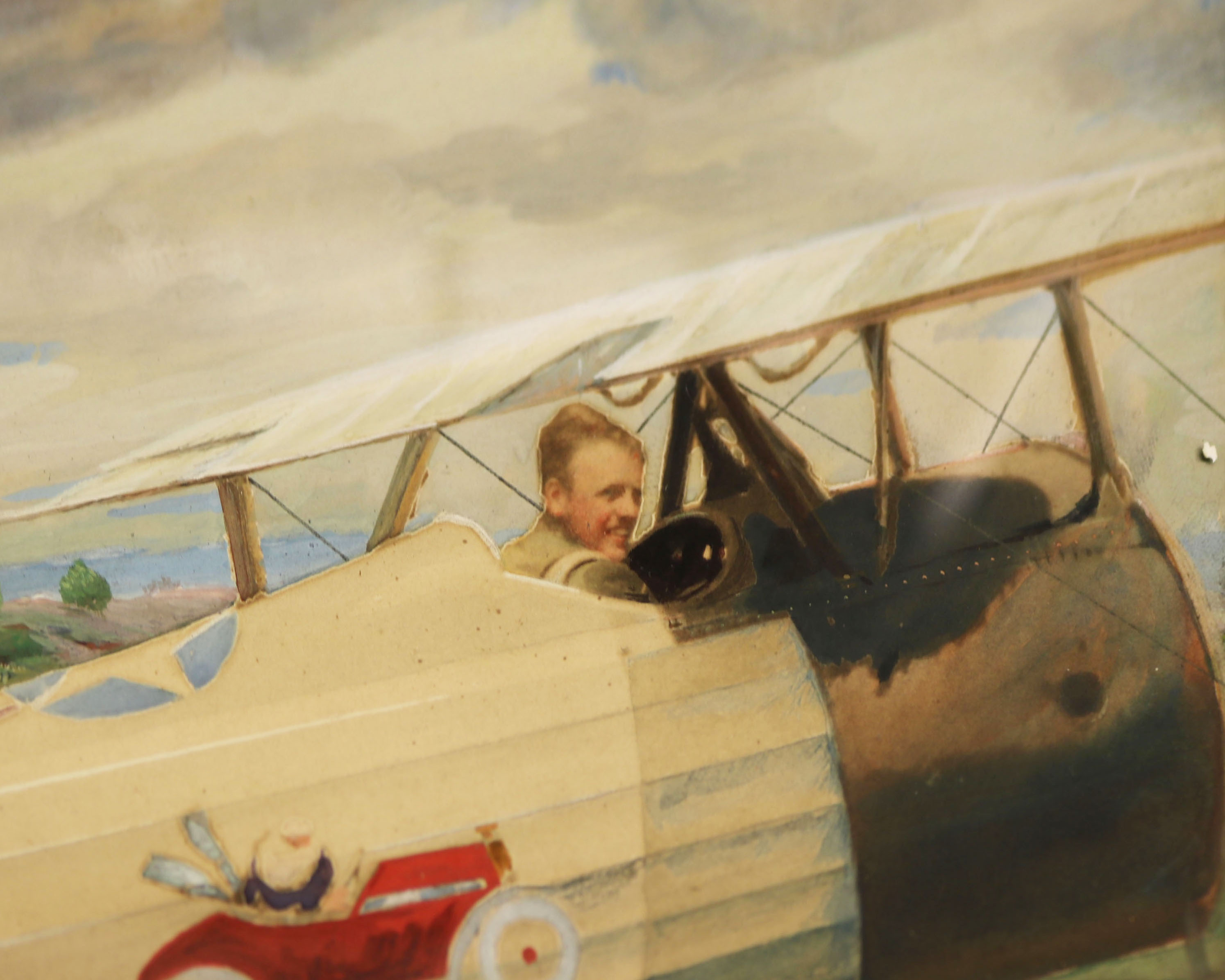 Painting of Quentin Roosevelt and his biplane.