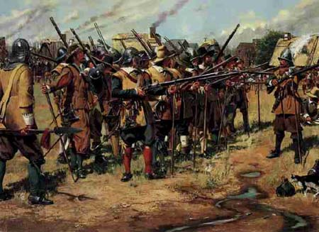 Painting by Don Trianti depicts the first National Guard muster that took place in late 1636/7. Civilian soldiers are in formation dressed in buff coats, helmets, and bandoliers. They drill with their muskets with smoke coming from the chimneys of their thatched-roof houses in the background.