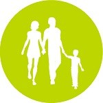 Green circle with silhouette of a family