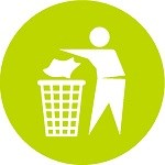 Green circle with silhouette of person disposing of trash