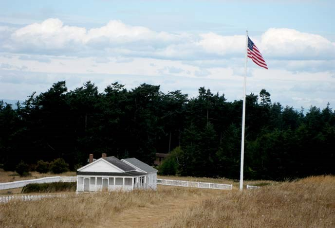 American camp and flag