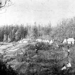 Royal Marines working in the vegetable garden, circa 1860
