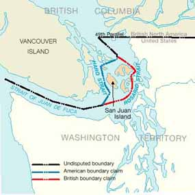 The San Juan Islands were in dispute.