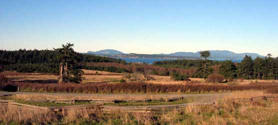 The Redoubt Road offers a spectacular view of Mt. Constitution and Turtleback on Orcas Island.