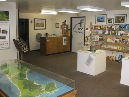 Map case, visitor contact station, and bookstore.