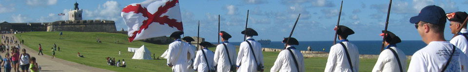 Soldiers marching to the entrance of Castillo San Felipe del Morro