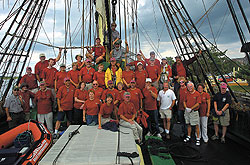 volunteers on the deck of Friendship