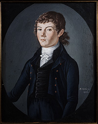 portrait of a young man in late 18th century clothing.