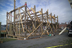 the frame of Pedrick Store house in place