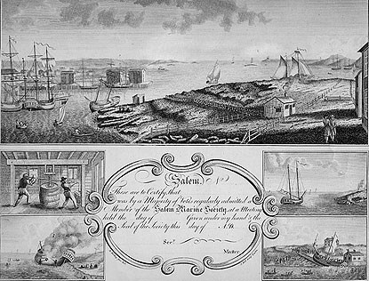 a membership certificate, showing scenes of Salem's maritime trades in 1797