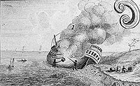 a large vessel has been pulled on shore, rolled on its side, and two men are burning off the growth on the sides.