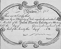 the text of the marine society certificate, stating the name of the member, and the date of their acceptance into the society.