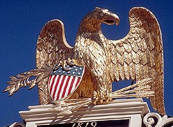 The carved eagle on the roof of the Custom House.