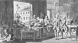 an 18th century engraving showing a tailor's shop