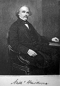 a portrait of Nathaniel Hawthorne in his later years, wearing a mustache