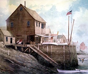 Watercolor painting of Pedrick Store House as it appeared in Marblehead