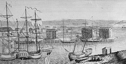 an engraved depiction of Derby Wharf in 1797