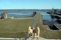 Salem's historic wharves at low tide, taken from the cupola of the US Custom House.