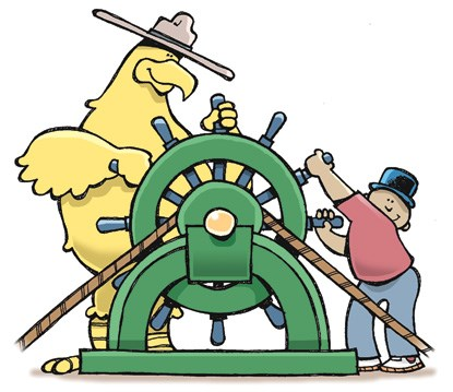 a cartoon of Eglantine the Custom House eagle at the ship's wheel along with a boy