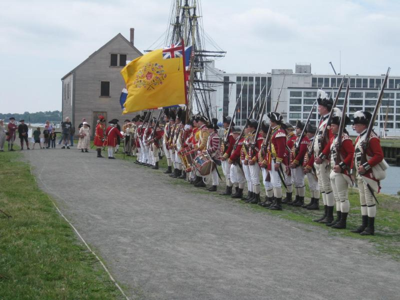 Reenactors Assembled on Derby Wharf. NPS Photo.