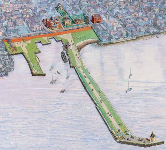 Painting of an aerial view of Salem Maritime