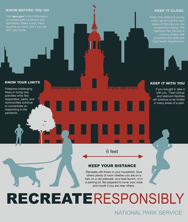 Illustration of an urban environment with the words Recreate Responsibly.