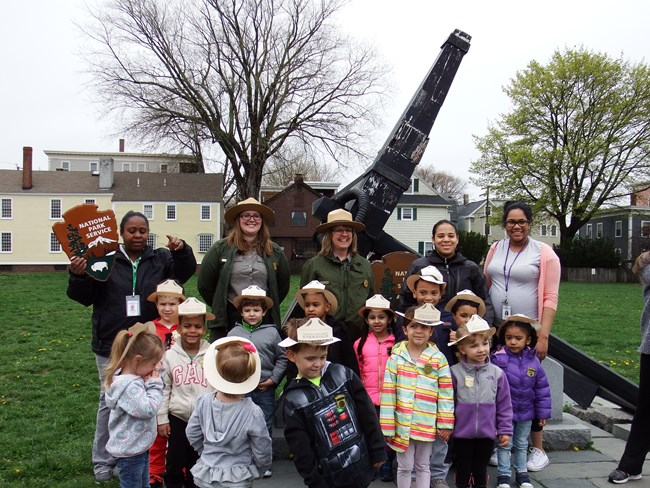 A group of children with a Park Ranger