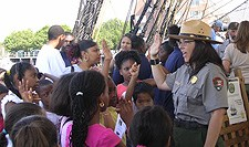 Young visitors are sworn in as Junior Rangers
