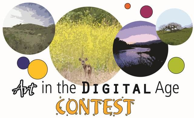 Art Contest Flyer graphic - 5 circles with different colors of different sizes surrounding 4 circles with various park landscapes in them. The words Art in the Digital Age Contest are along the bottom of the graphic beneath the circles.
