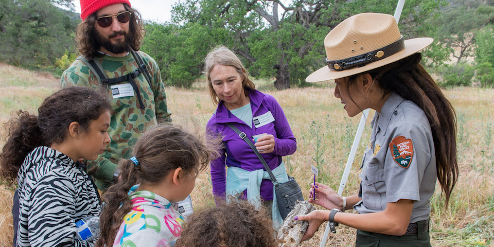 Ranger Kya explains a native tree species to a group