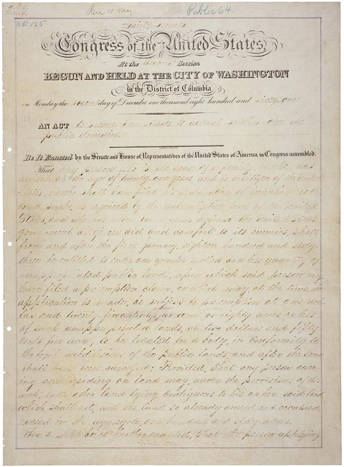 The Homestead Act of 1862 created land opportunities for many individuals living in the United States. This image shows the original document.