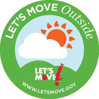 "This is the Let's Move Outside logo.  Inside of the logo is a blue circle portrayed as the sky with a white cloud and a red-orange sun.  There is a green hill at the bottom with the words ""Let's Move!"" on it.  There is a green border circling the logo."