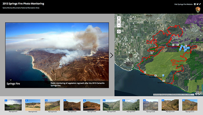 Screenshot of an interactive website with map and images of photo monitoring stations