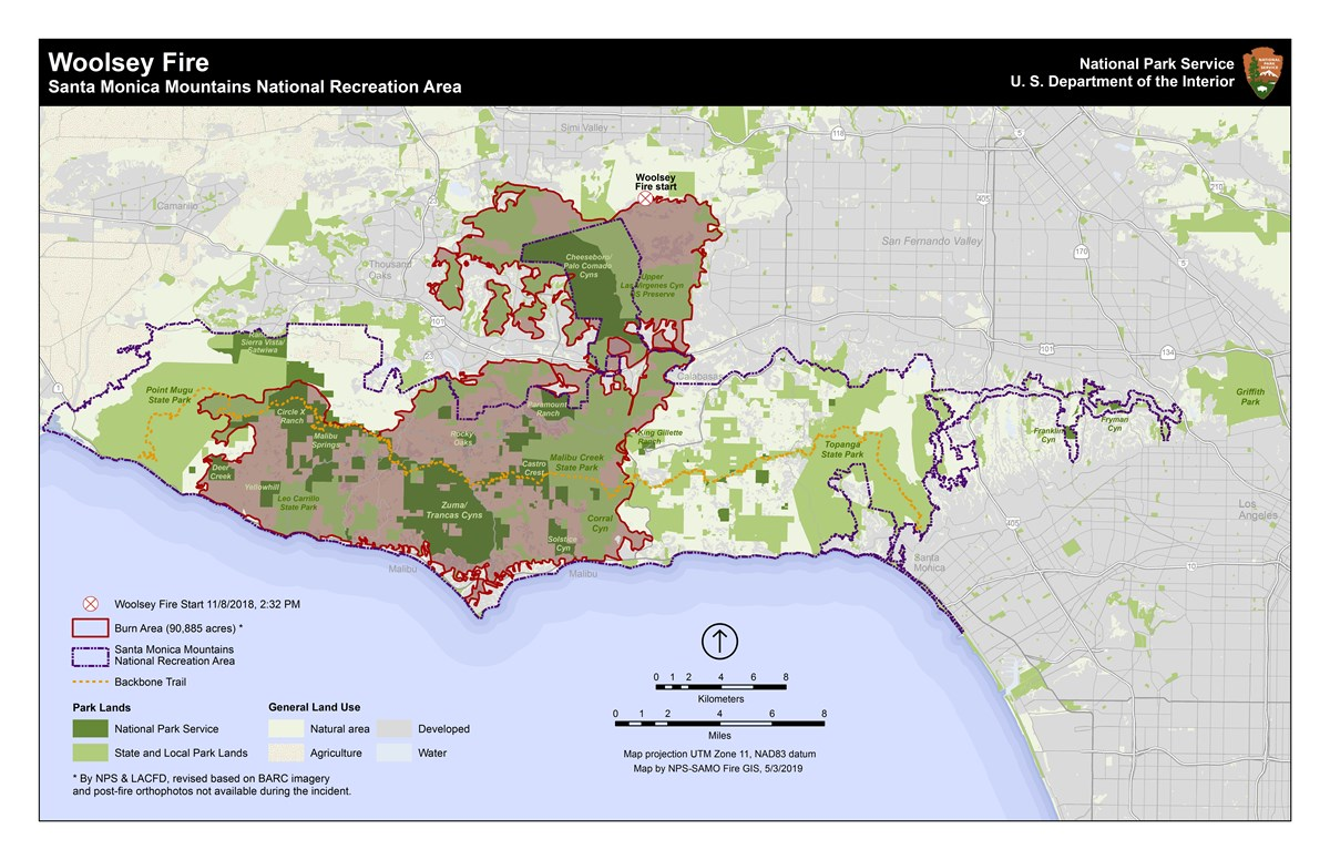 woolsey fire public lands map