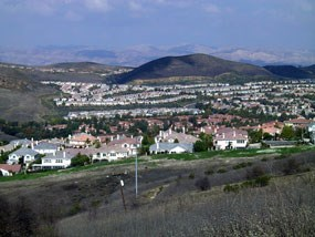 Urban encroachment in the Simi hills, California from residential developments leads habitat fragmentation and loss of habitat for native wildlife.