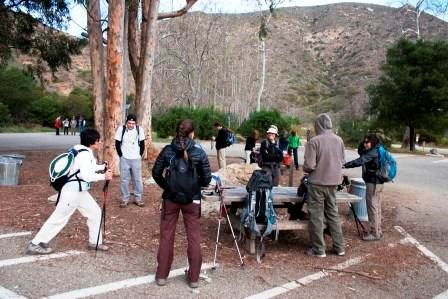 Hikers prepare for a journey along the Backbone Trail at the Ray Miller Trailhead.