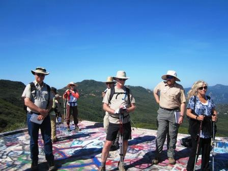 Hikers take a pause at the Old Topanga Fire Lookout.