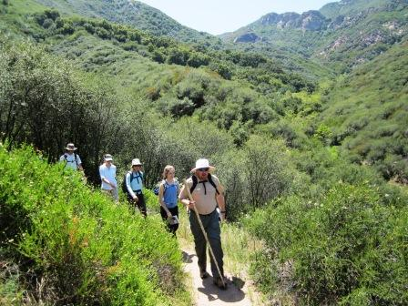 Hikers come down the BBT in Hondo Canyon.