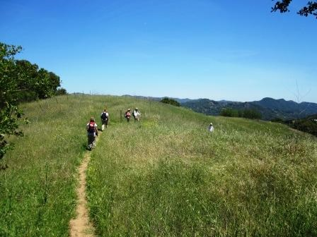 Hikers on the Dead Horse Trail in Topanga State Park.