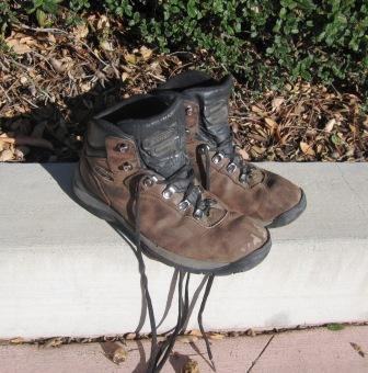 This pair of well-broken in hiking boots has seen many miles of trail. Are your boots broken in?