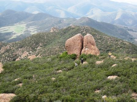 Chamberlain Rock is a key landmark on the Backbone Trail in the Boney Mountain State Wilderness.