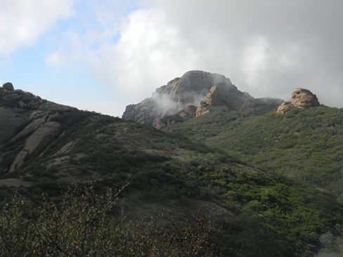 Cloud cover on the Sandstone Peak Trail.