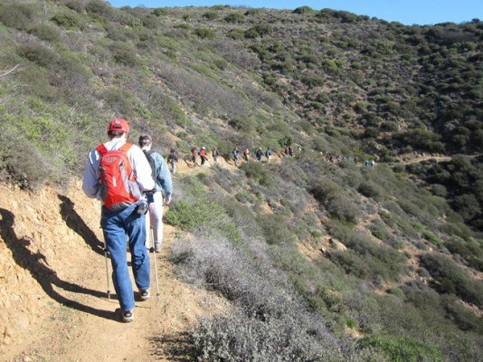 The 2013 line of Backbone Trail hikers