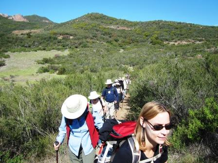 Hikers travel along the Backbone Trail